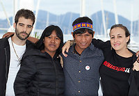 Director Joao Salaviza, actors Koto Kraho, Ihjac Kraho and director Renee Nader Messora at the The Dead And The Others film photo call at the 71st Cannes Film Festival, Wednesday 16th May 2018, Cannes, France. Photo credit: Doreen Kennedy