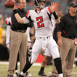 2008 December, 07: Atlanta Falcons quarterback Matt Ryan (2) throws a pass in warm ups prior to kickoff of a game between NFC South divisional rivals the Atlanta Falcons and the New Orleans Saints at the Louisiana Superdome in New Orleans, LA.