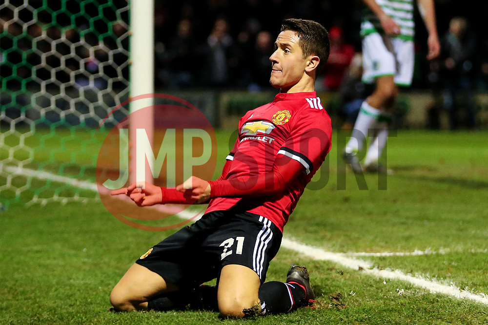 Ander Herrera of Manchester United celebrates after scoring his sides second goal - Rogan/JMP - 26/01/2018 - FOOTBALL - Huish Park - Yeovil, England - Yeovil Town v Manchester United - FA Cup Fourth Round.