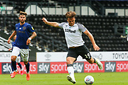 Chris Martin of Derby County shoots at goal during the EFL Sky Bet Championship match between Derby County and Brentford at the Pride Park, Derby, England on 11 July 2020.