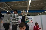 Roma, 29/02/2016: i rifugiati siriani in attesa delle operazioni di identificazione all'aereoporto di  Fiumicino arrivati con un regolare volo di linea Beirut- Roma, organizzato nell&rsquo;ambito dell&rsquo;iniziativa dei corridoi umanitari da Sant&rsquo;Egidio, Tavola valdese e Chiese evangeliche - the Syrian refugees arrived this morning at Fiumicino Airport with a regular flight of Beirut- line Rome, organized under the initiative of Sant'Egidio humanitarian corridors, Waldensian Board and Evangelical Churches.<br /> &copy;Andrea Sabbadini