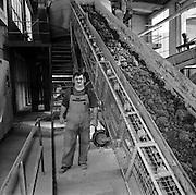 Arbeiter neben dem Fliessband in der Ziegelei Düdingen. Ouvrier dans la Tuilerie Guin. 2004. © Romano P. Riedo