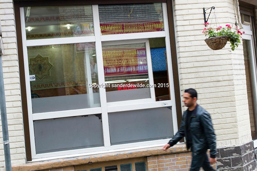 Brussels Belgium Molenbeek 20 November 2015. Moroccan tea house salon de the avenida, where an assumed terrorist was a client.Rue ribaucourt/corner Parivs Saint Jean Baptiste