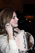"""30.JANUARY.2012. PARIS<br /> <br /> AMERICAN SINGER LANA DEL REY BACK TO HER HOTEL IN PARIS WITH HER SPECIAL TATTOO """"TRUST NO ONE"""" ON HER HAND  <br /> <br /> BYLINE: EDBIMAGEARCHIVE.COM<br /> <br /> *THIS IMAGE IS STRICTLY FOR UK NEWSPAPERS AND MAGAZINES ONLY*<br /> *FOR WORLD WIDE SALES AND WEB USE PLEASE CONTACT EDBIMAGEARCHIVE - 0208 954 5968*"""