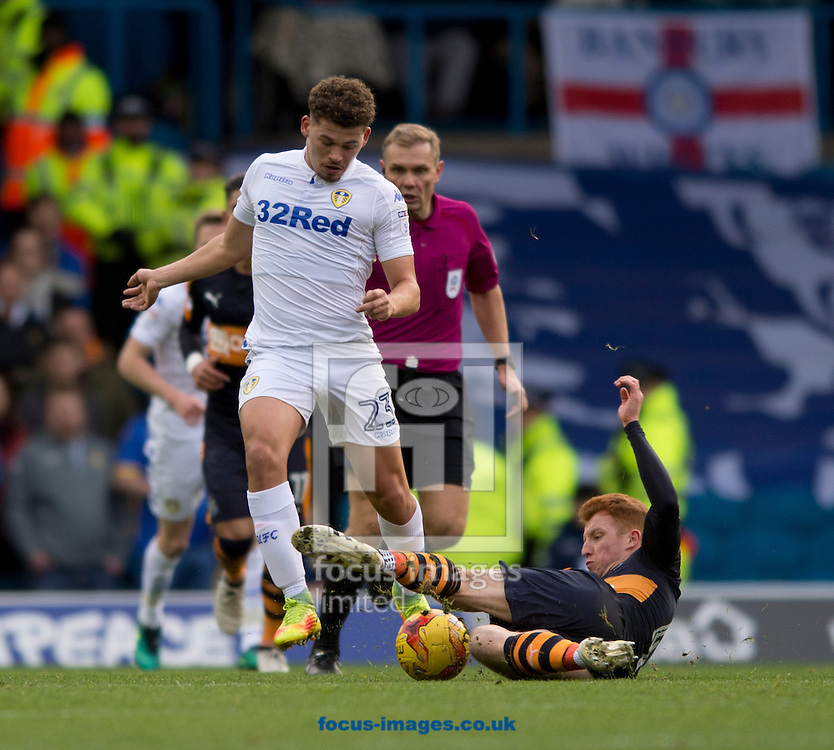 Jack Colback of Newcastle United (right) and Kalvin Phillips of Leeds United challenge for the ball during the Sky Bet Championship match at Elland Road, Leeds<br /> Picture by Russell Hart/Focus Images Ltd 07791 688 420<br /> 20/11/2016