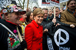 © Licensed to London News Pictures. 26/02/2016. London, UK. SNP leader Nicola STURGEON attends a CND (Campaign for Nuclear Disarmament) rally in central London on February 27, 2016. Jeremy Corbyn has been criticised for publicly supporting the CND campaign while Labour Party policy  backs the renewal of Trident nuclear programme. Photo credit: Ben Cawthra/LNP
