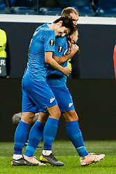 February 21, 2019 - Saint Petersburg, Russia - Sardar Azmoun (L) of FC Zenit Saint Petersburg celebrates his goal with Branislav Ivanovic during the UEFA Europa League Round of 32 second leg match between FC Zenit Saint Petersburg and Fenerbahce SK on February 21, 2019 at Saint Petersburg Stadium in Saint Petersburg, Russia. (Credit Image: © Mike Kireev/NurPhoto via ZUMA Press)