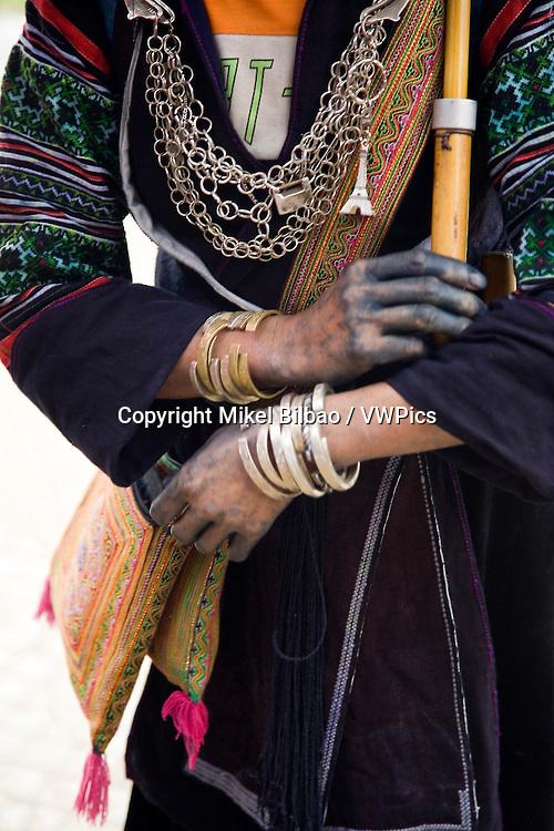 black hmong ethnic clothes detail.<br /> Sapa, Lao Cai province, Vietnam.