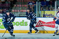 PENTICTON, CANADA - SEPTEMBER 9: Leon Gawanke #70 and Francis Beauvillier #93 of Winnipeg Jets skate against the Edmonton Oilers on September 9, 2017 at the South Okanagan Event Centre in Penticton, British Columbia, Canada.  (Photo by Marissa Baecker/Shoot the Breeze)  *** Local Caption ***