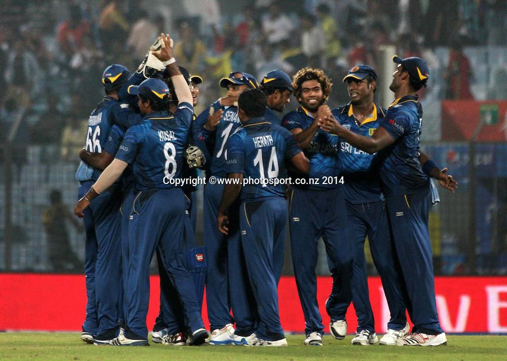 Sri Lanka celebrate their win over New Zealand Black Caps - ICC World Twenty20 cricket, Zahur Ahmed Chowdhury Stadium, Chittagong, Bangladesh. New Zealand v Sri Lanka, 31 March 2014. Photo: www.photosport.co.nz