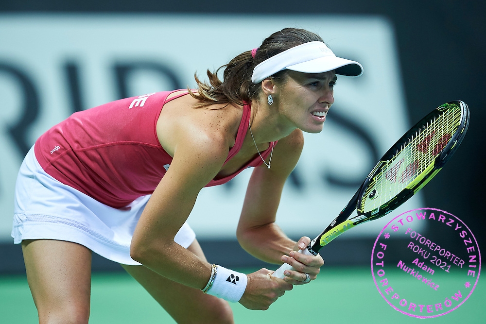 Martina Hingis from Switzerland competes during the Fed Cup / World Group Play Off tennis match between Poland and Switzerland on April 19, 2015 in Zielona Gora, Poland<br /> Poland, Zielona Gora, April 19, 2015<br /> <br /> Picture also available in RAW (NEF) or TIFF format on special request.<br /> <br /> For editorial use only. Any commercial or promotional use requires permission.<br /> <br /> Adam Nurkiewicz declares that he has no rights to the image of people at the photographs of his authorship.<br /> <br /> Mandatory credit:<br /> Photo by &copy; Adam Nurkiewicz / Mediasport