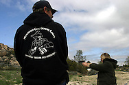 Minuteman Project' members trying shooting with pistol at a not official 'Minuteman Project' training in a shooting range next to the border of Mexico...23 april 2006....
