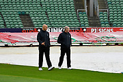 Umpires Alex Wharf and Mike Burns out on the field for an inspection during the rain before play was abandoned for the day due to rain during the Specsavers County Champ Div 1 match between Somerset County Cricket Club and Middlesex County Cricket Club at the Cooper Associates County Ground, Taunton, United Kingdom on 27 September 2017. Photo by Graham Hunt.
