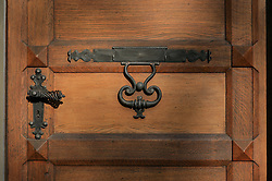 SWITZERLAND BERN 1MAR12 - An ornate solid wood entrance door and ironwork at Bern Matte next to the Aare river, Switzerland.....jre/Photo by Jiri Rezac....© Jiri Rezac 2012
