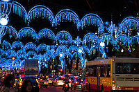 Christmas decorations and traffic at night in Singapore
