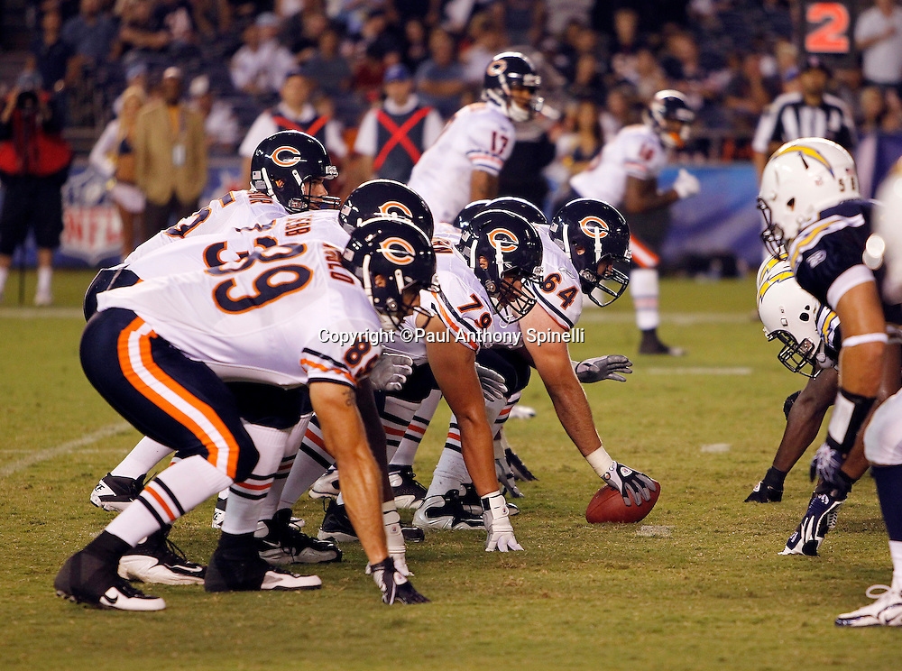 The Chicago Bears offense lines up at the line of scrimmage during a NFL week 1 preseason football game against the San Diego Chargers, Saturday, August 14, 2010 in San Diego, California. The Chargers won the game 25-10. (©Paul Anthony Spinelli)
