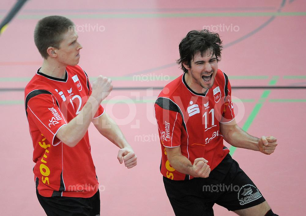 Volleyball  1. Bundesliga  2008/200909.03.2009 ENBW TV Rottenburg  - TSV Giesen/Hildesheim JUBEL TV R , Thomas Welz (re) und David Smith