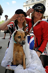 © licenced to London News Pictures.London,UK..27/04/2011.Royal Wedding ladies with bride dog at the top of The Mall,London..LtoR.Clare O Hagan .Denise Wyllie.with bride dog,  Fifi De La Bon Bon.Please see Special Instructions..Picture credit should read Grant Falvey/London News Pictures