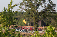 May, 25, 2014, Amite County, MS, Goodrich C.H. Lewis 30-19H-1 well in production with a flare burning.  This hydraulic fracturing site  in the Tuscaloosa shale region is one of over a dozen exploratory wells that are being built and utilized Louisiana and Mississippi.