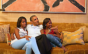 04.SEPTEMBER.2012. WASHINGTON D.C.<br /> <br /> TYPE OR PASTE YOUR CONTENT HEREPRESIDENT BARACK OBAMA AND HIS DAUGHTERS, MALIA, LEFT, AND SASHA, WATCH ON TELEVISION AS FIRST LADY MICHELLE OBAMA TAKES THE STAGE TO DELIVER HER SPEECH AT THE DEMOCRATIC NATIONAL CONVENTION, IN THE TREATY ROOM OF THE WHITE HOUSE, TUESDAY NIGHT, SEPT. 4, 2012.  <br /> <br /> BYLINE: EDBIMAGEARCHIVE.CO.UK<br /> <br /> *THIS IMAGE IS STRICTLY FOR UK NEWSPAPERS AND MAGAZINES ONLY*<br /> *FOR WORLD WIDE SALES AND WEB USE PLEASE CONTACT EDBIMAGEARCHIVE - 0208 954 5968*