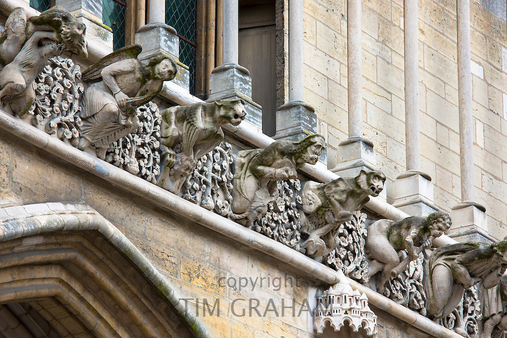 Gargoyles at the Notre Dame Cathedral in Dijon in the Burgundy region of France
