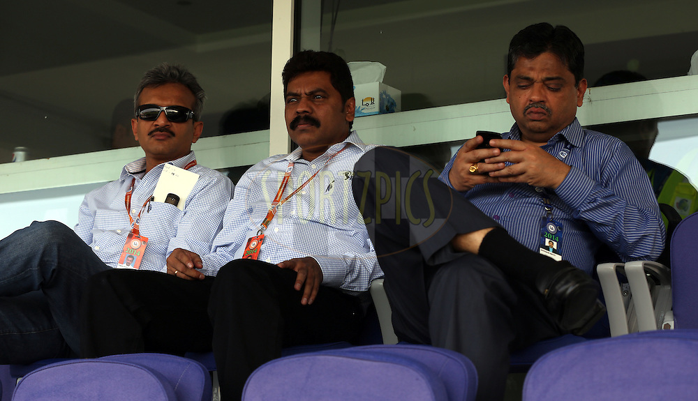 Ratnakar Shetty is the BCCI's new head of operations (R) with BCCI Officials during match 3 of the Pepsi Indian Premier League Season 7 between the Chennai Superkings and the Kings X1 Punjab held at the Al Zayed Cricket Stadium, Abu Dhabi, United Arab Emirates on the 18th April 2014<br /> <br /> Photo by Sandeep Shetty / IPL / SPORTZPICS