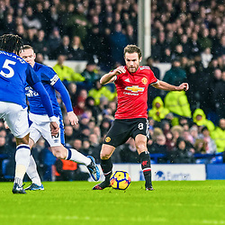 Juan Mata of Manchester United  on the ball during the Premier League match between Everton and Manchester United, Goodison Park, Monday 1st January 2018<br /> (c) John Baguley | SportPix.org.uk
