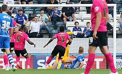 Callum Camps of Rochdale scores the opening goal past Ben Alnwick of Peterborough United - Mandatory byline: Joe Dent/JMP - 07966386802 - 08/08/2015 - FOOTBALL - Spotland Stadium -Rochdale,England - Rochdale AFC v Peterborough United - Sky Bet League One