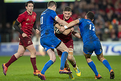 December 30, 2018 - Limerick, Ireland - Dan Goggin of Munster tackled by Johnny Sexton and Rory O'Loughlin of Leinster during the Guinness PRO14 match between Munster Rugby and Leinster Rugby at Thomond Park in Limerick, Ireland on December 29, 2018  (Credit Image: © Andrew Surma/NurPhoto via ZUMA Press)