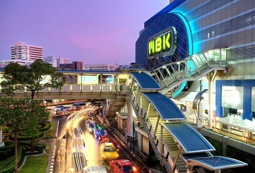 The MBK shopping centre at night in Bangkok, is situated at National Stadium BTS skytrain station and is one the most famous shopping mall of the country itself.