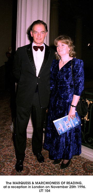 The MARQUESS & MARCHIONESS OF READING, at a reception in London on November 25th 1996.LTT 104