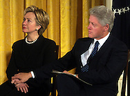 A 9.33 MG IMAGE OF:.Washington, DC, 1/4/01President Clinton and Senator Hillary Rodham Clinton during aWhite House ceremony to celebrate the enactment of the breast and cervical Cancer Act of 2000 .