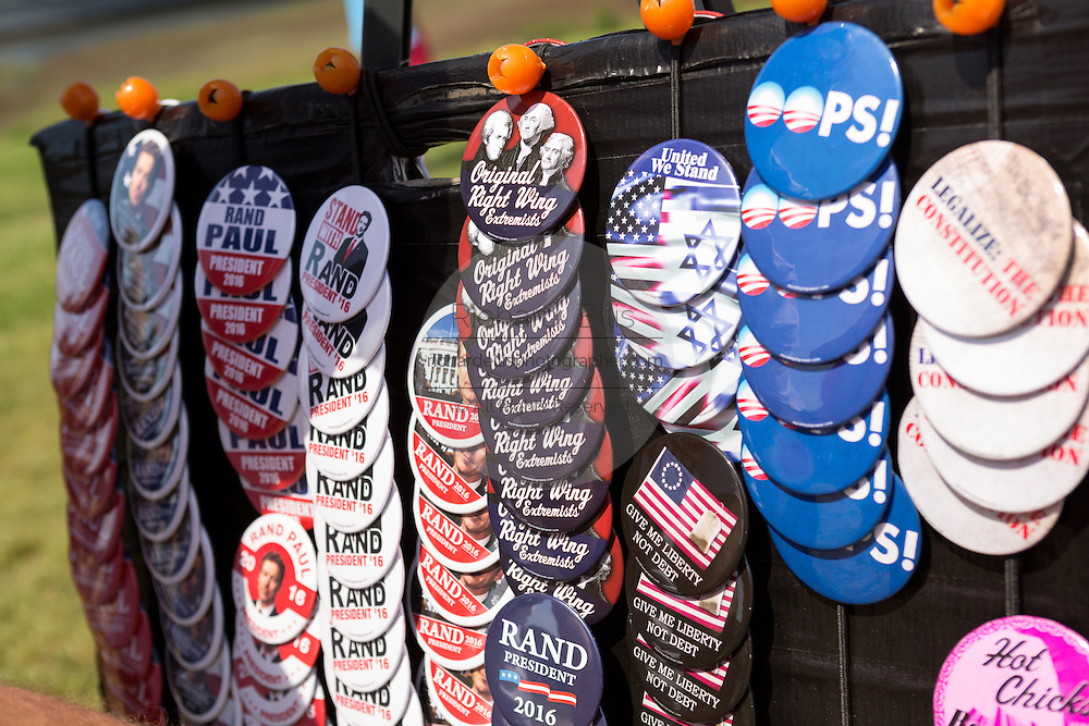Political buttons for GOP presidential hopeful Senator Rand Paul outside a campaign rally April 9, 2015 in Mt Pleasant, South Carolina.  Paul outlined a foreign policy vision built both on a strong military and a commitment to use it sparingly.