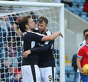 Rory Loy celebrates with Greg Stewart after scoring his first goal in Dundee colours - Dundee v Wigan Athletic - pre season friendly at Dens Park<br /> <br />  - &copy; David Young - www.davidyoungphoto.co.uk - email: davidyoungphoto@gmail.com