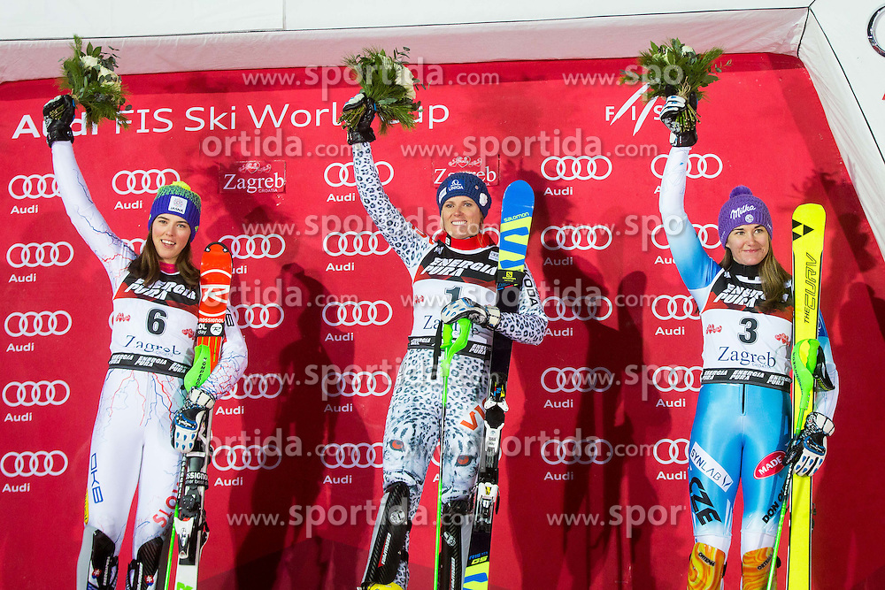 "Petra Vlhova (SVK), Veronika Velez Zuzulova (SVK), Sarka Strachova (CZE) during  Flower Ceremony after the FIS Alpine Ski World Cup 2016/17 Ladies Slalom race named ""Snow Queen Trophy 2017"", on January 3, 2017 in Course Crveni Spust at Sljeme hill, Zagreb, Croatia. Photo by Ziga Zupan / Sportida"