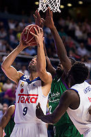 Real Madrid's player Felipe Reyes and Othello Hunter and Unicaja Malaga's player Viny Okouo during match of Liga Endesa at Barclaycard Center in Madrid. September 30, Spain. 2016. (ALTERPHOTOS/BorjaB.Hojas)