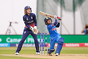 India womens cricket Poonam Raut skies one during the ICC Women's World Cup match between England and India at the 3aaa County Ground, Derby, United Kingdom on 24 June 2017. Photo by Simon Davies.