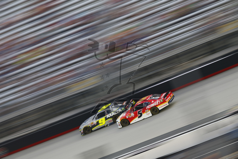 August 18, 2017 - Bristol, Tennessee, USA: Michael Annett (5) battles for position during the Food City 300 at Bristol Motor Speedway in Bristol, Tennessee.