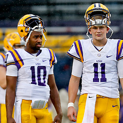 Sep 21, 2013; Baton Rouge, LA, USA; LSU Tigers quarterback Hayden Rettig (11) and quarterback Anthony Jennings (10) before a game against the Auburn Tigers at Tiger Stadium. Mandatory Credit: Derick E. Hingle-USA TODAY Sports