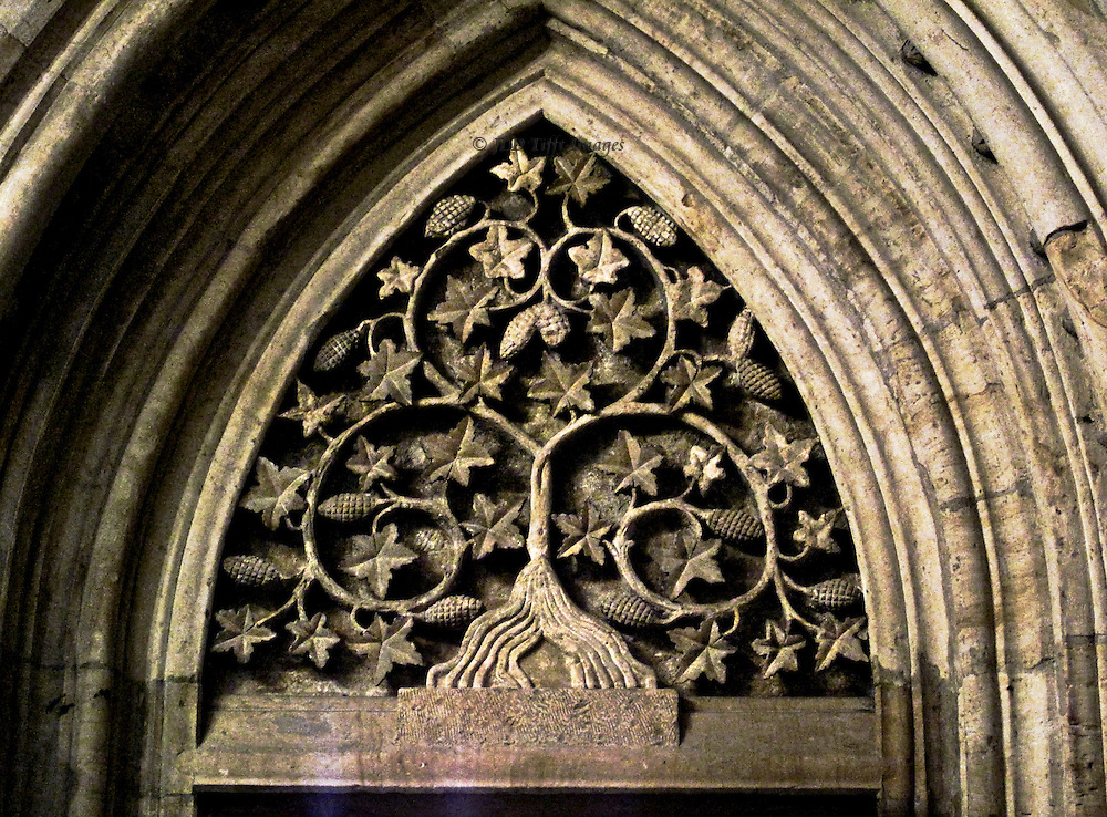 "Prague synagogue; carving on tympanum over entry to the inner sanctuary, an abstract geometric design within a pointed arch, shows 12 vines and twleve bunches of grapes, possibly representing the twelve tribes of Israel.  Also known as the ""Old-New Synagogue,"" the oldest in Europe.  Built 1270 in Gothic style."