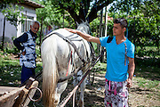 A young man strokes his horse in the Roma area of Frumusani.