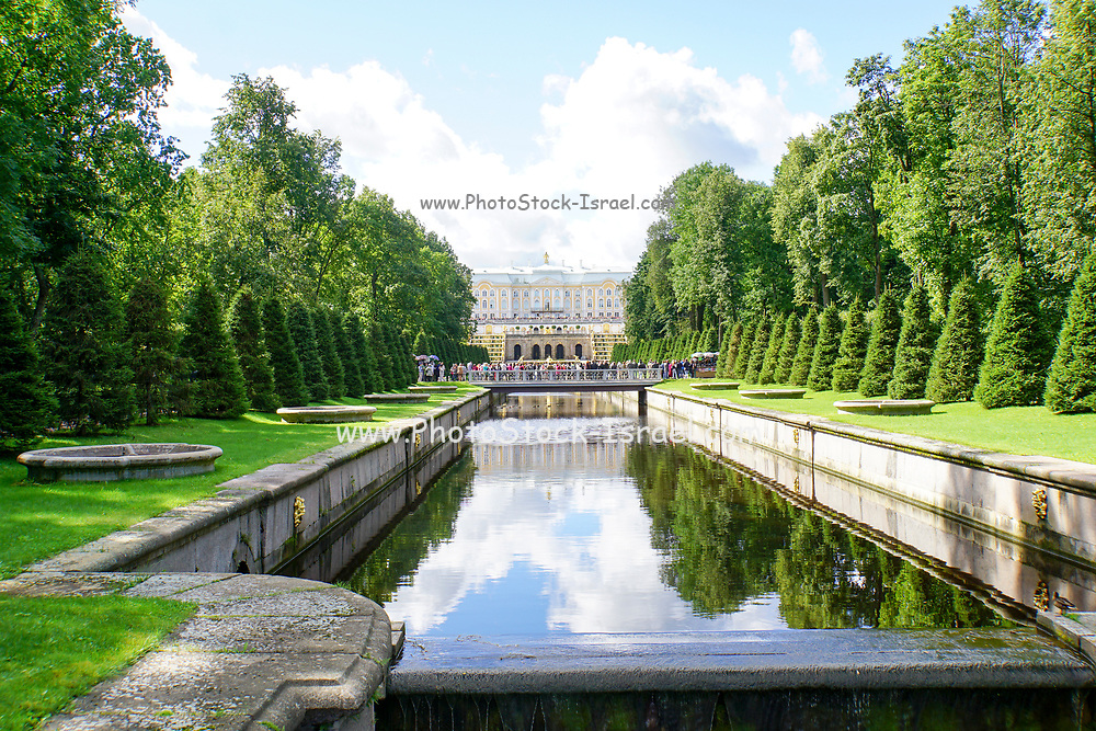 Peterhof Palace gardens in summer located near Saint Petersburg,