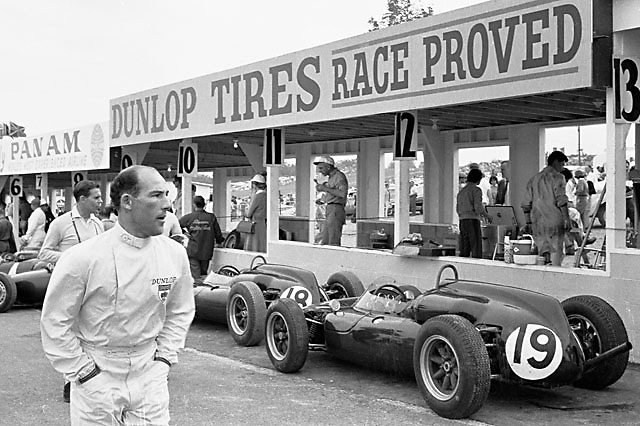 Stirling Moss in Watkins Glen pit lane before 1961 US Grand Prix
