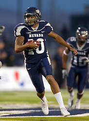 September 17, 2010; Reno, NV, USA; Nevada Wolf Pack quarterback Colin Kaepernick (10) runs with the ball during the first quarter against the California Golden Bears at Mackay Stadium. Nevada defeated California 52-31.
