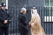 Theresa May, Prime Minister welcomes His Highness Sheikh Mohamed bin Zayed Al Nahyan, Crown Prince of Abu Dhabi to Downing Street. <br /> 10 Downing Street, London, Great Britain <br /> 23rd February 2017 <br /> <br /> Theresa May <br /> Sheikh Mohamed bin Zayed Al Nahyan<br /> <br /> <br /> <br /> Photograph by Elliott Franks <br /> Image licensed to Elliott Franks Photography Services