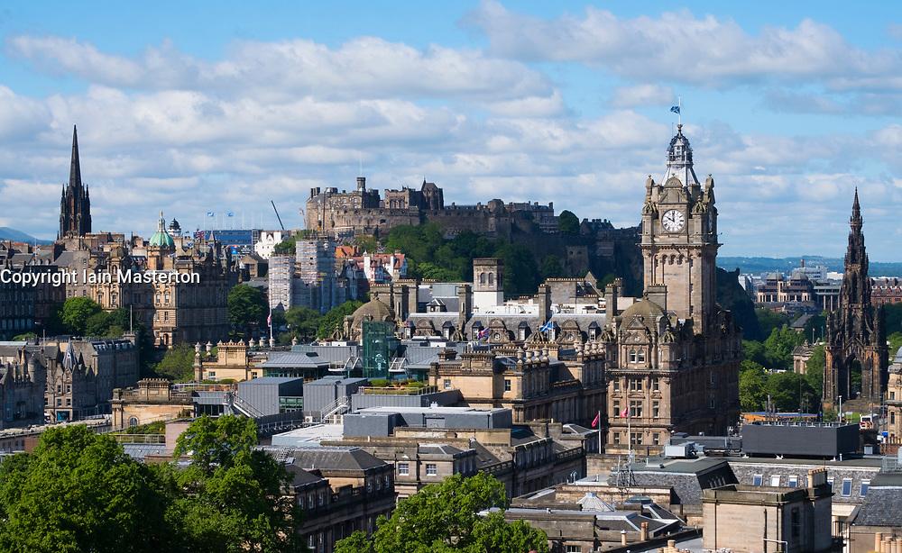 Skyline view of Edinburgh from Calton Hill, Scotland, United Kingdom.