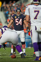 25 November 2012: Linebacker (54) Brian Urlacher of the Chicago Bears lines up against the Minnesota Vikings during the first half of the Bears 28-10 victory over the Vikings in an NFL football game at Soldier Field in Chicago, IL.
