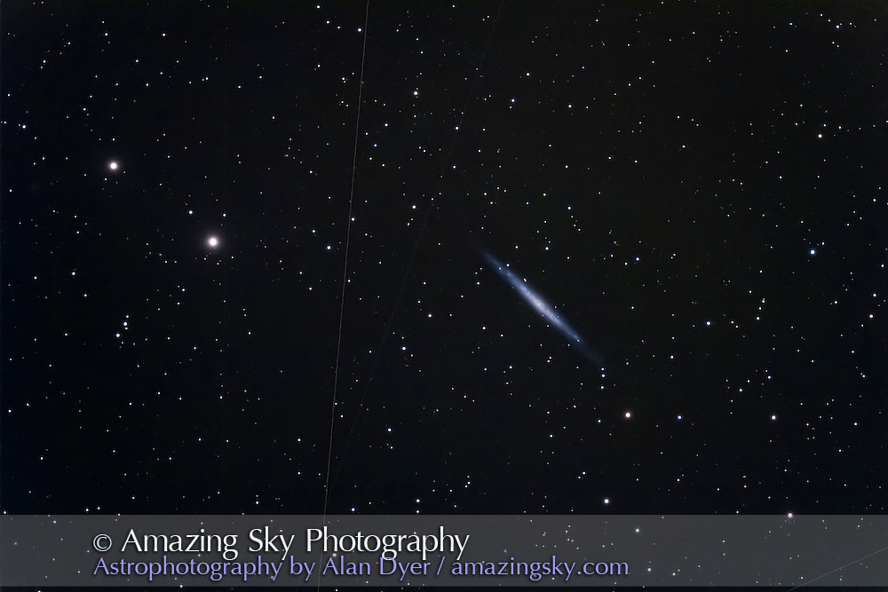 NGC 4244, the Silver Needle Galaxy, in Canes Venatici. This is a stack of 4 x 10 minute exposures at ISO 800 with the Canon 60Da and Astro-Physics 130mm f/6 apo refractor.
