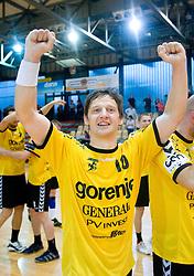 Sebastijan Sovic  of Gorenje celebrates after handball match of MIK 1st Men league between RD Slovan and RK Gorenje Velenje, on May 16, 2009, in Arena Kodeljevo, Ljubljana, Slovenia. Gorenje won 27:26. (Photo by Vid Ponikvar / Sportida)