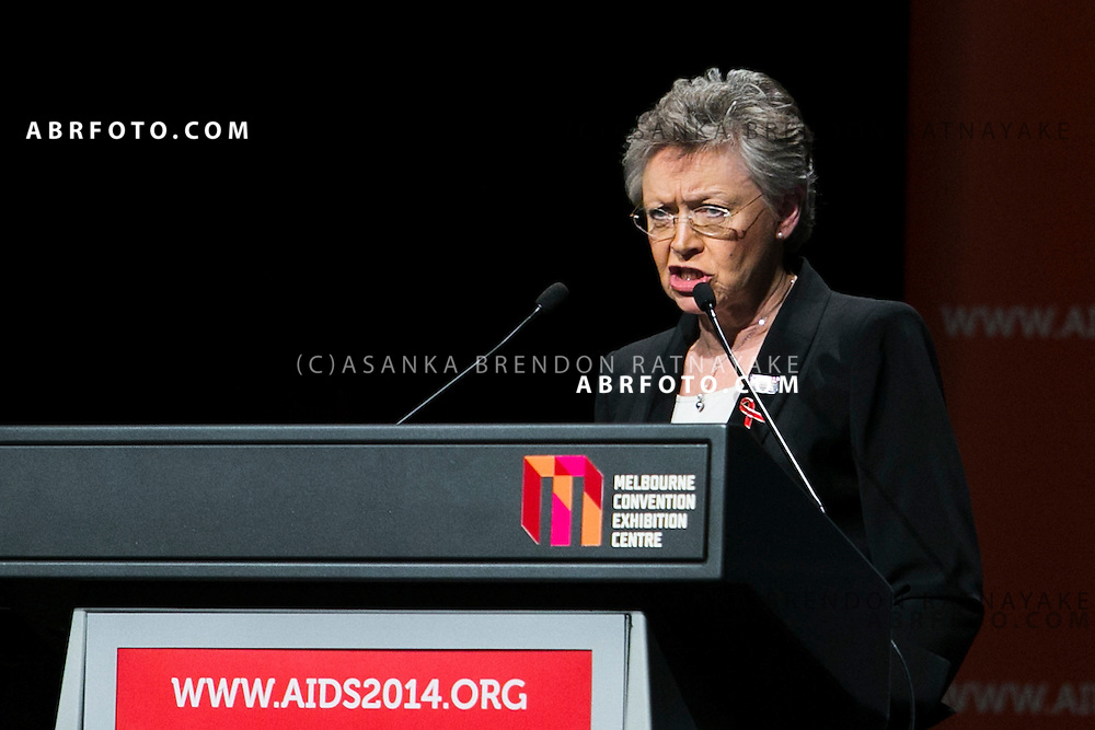 20/07/2014. International AIDS Society president Francoise Barre-Sinoussi speaks during the official opening ceremony of the 20th International AIDS conference held in Melbourne Australia on July 20, 2014. This conference takes place a few days after the death of a number of high profile delegates and researchers due to attend whom flew on Malaysian Airlines flight MH17. Photo credit : Asanka Brendon Ratnayake